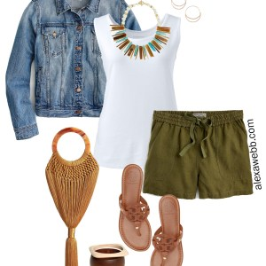Plus Size Linen Shorts Outfit - Plus Size Green Linen Shorts, Tank Top, Denim Jacket, Sandals - alexawebb.com #plussize #alexawebb