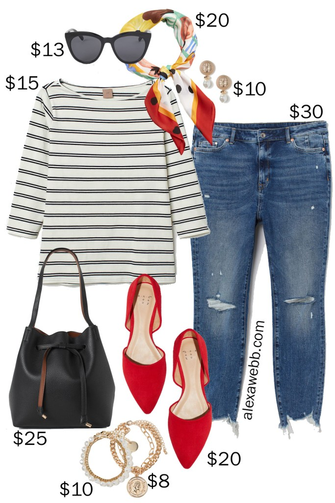 Plus Size on a Budget - Parisian Chic - Distressed Jeans, Scarf, Striped Top, Red Flats, Bucket Bag - Plus Size Summer into Fall Outfit Idea - alexawebb.com #plussize #alexawebb