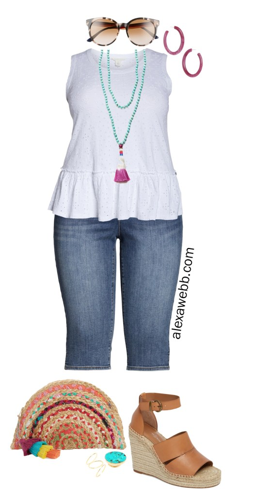 Plus Size Eyelet Peplum Top Outfits - Plus Size White Tank Top, Denim Capri Jeans, Straw Clutch, Espadrille Sandals - Summer Outfits - Alexa Webb - alexawebb.com #Plussize #alexawebb