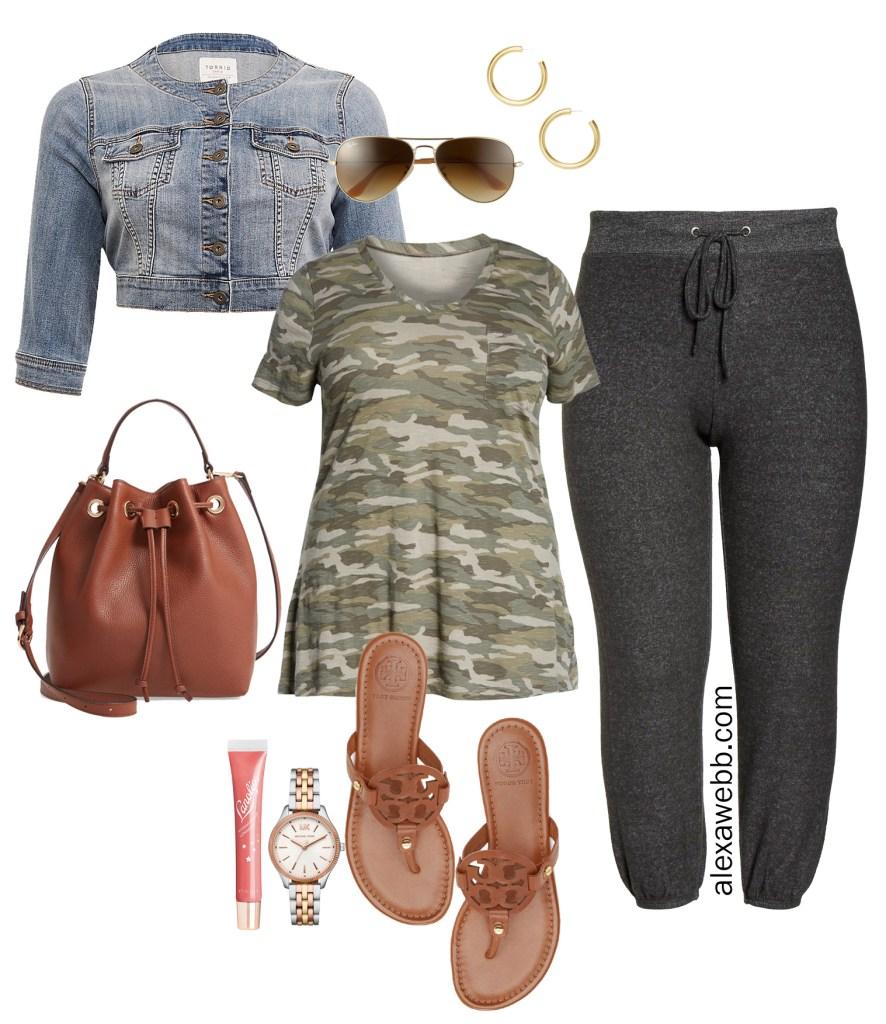 Plus Size Summer Athleisure - Plus Size Camo T-Shirt, Denim Jacket, Sweatpants Joggers, Sandals, Bucket Bag - alexawebb.com #plussize #alexawebb