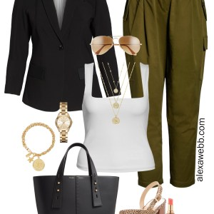 Plus Size Summer to Fall Work Outfit - Black Blazer, Tank Top, Olive Cargo Pants, Leopard Sandals, Coin Necklace - alexawebb.com #plussize #alexawebb