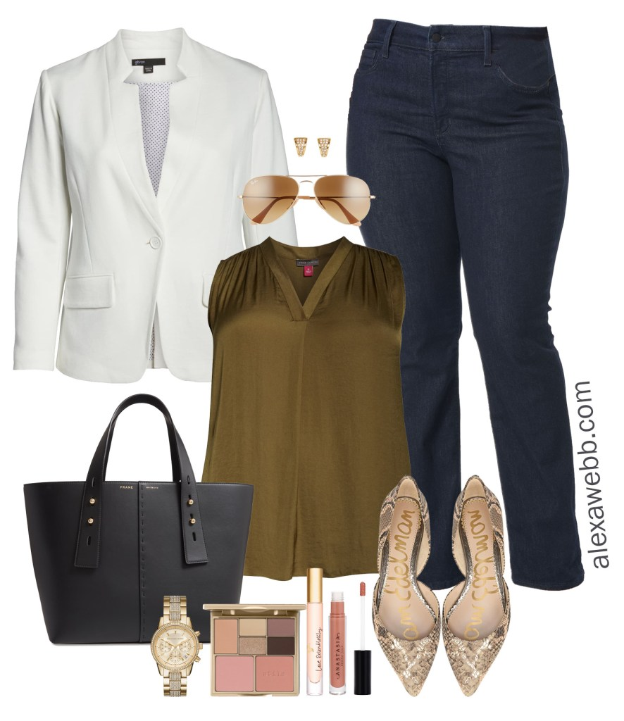 Plus Size Work to Happy Hour Outfit Idea - White Blazer, Olive Blouse, Dark Wash Bootcut Jeans, Snake Print Flats, Tote - Plus Size Fashion for Women - alexawebb.com #plussize #alexawebb Alexa Webb