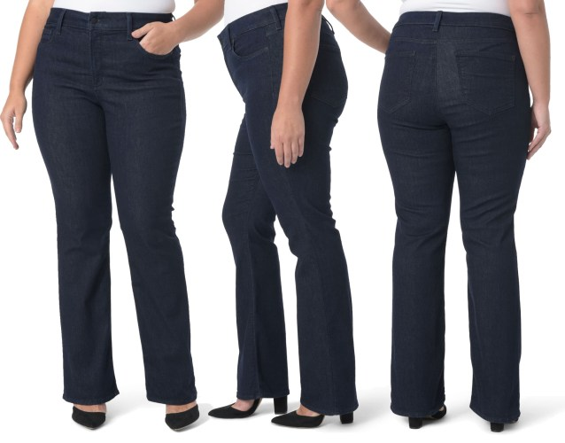 Plus Size Dark Wash Bootcut Jeans with Dark Stitching - Work-Appropriate Jeans - alexawebb.com #plussize