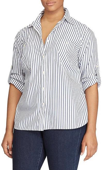 Plus Size Striped Shirt with roll-up sleeves - alexawebb.com #plussize #alexawebb