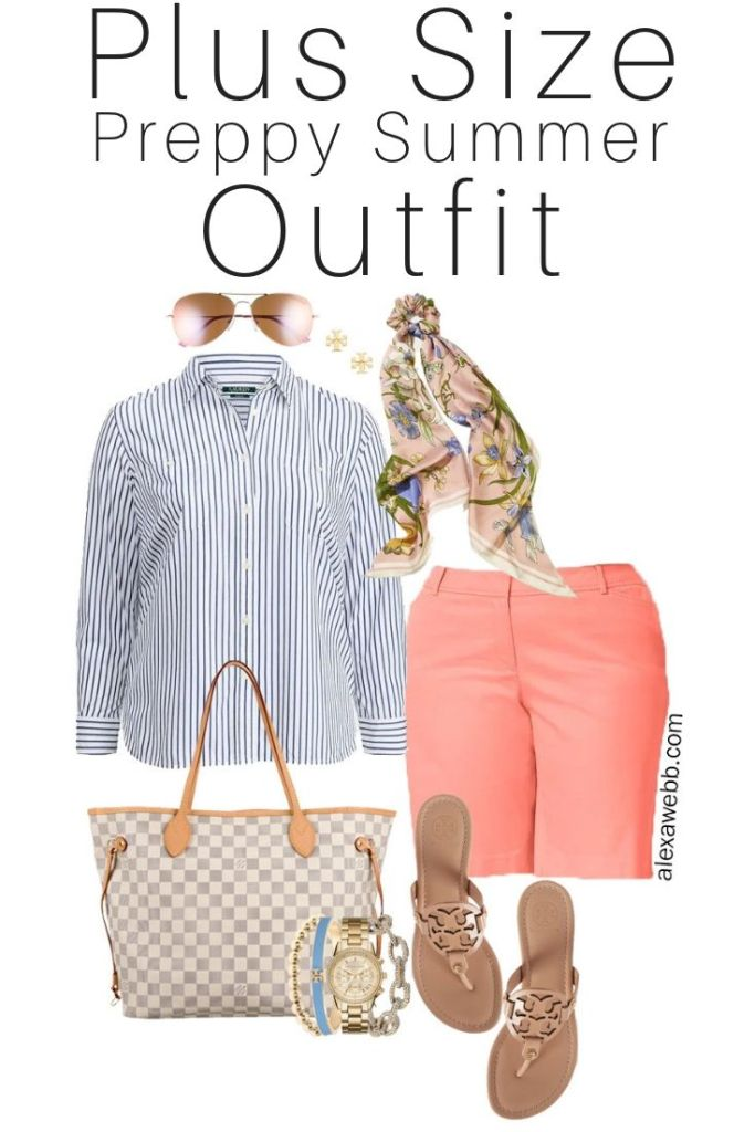Plus Size Preppy Coral Shorts Outfit - Button-down, Hair Scarf, Louis Vuitton Neverfull, tory Burch Sandals - Summer Outfit - alexawebb.com #plussize #alexawebb
