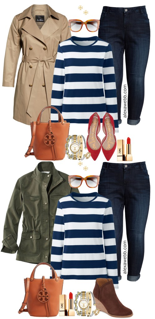 Plus Size Preppy Striped Top Outfit Ideas - Plus Size Fashion for Women for Fall - alexawebb.com #plussize #alexawebb