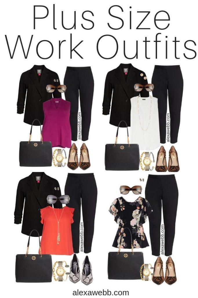 Plus Size Fall Work Outfits - Plus Size Black Pant Suit - Zebra Heels - Nordstrom Anniversary Sale - alexawebb.com #plussize #alexawebb #Nsale