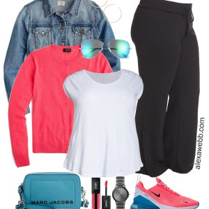 Plus Size Neon Athleisure - Denim Jacket, Neon Cardigan, Aqua Crossbody Bag, Sneakers - alexawebb.com #plussize #alexawebb