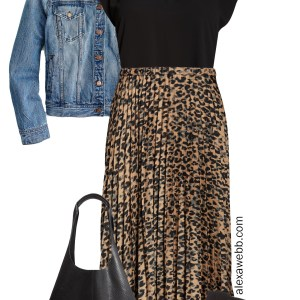 Plus Size Leopard Skirt Outfit – Plus Size Outfits - Denim Jacket, Black Top, Leopard Pleated Skirt, Snake Bag, Cut-out Sandals - alexawebb.com #plussize #alexawebb