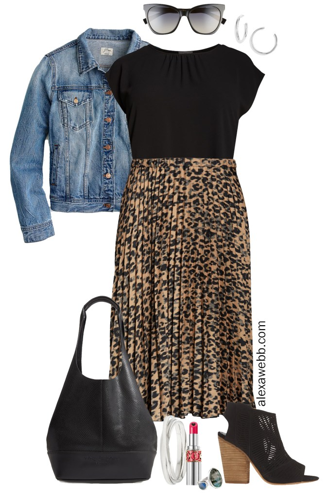 Plus Size Leopard Skirt Outfit – Plus Size Outfits - Denim Jacket, Black Top, Leopard Pleated Skirt, Hobo Bag, Cut-out Sandals - Alexa Webb #plussize #alexawebb