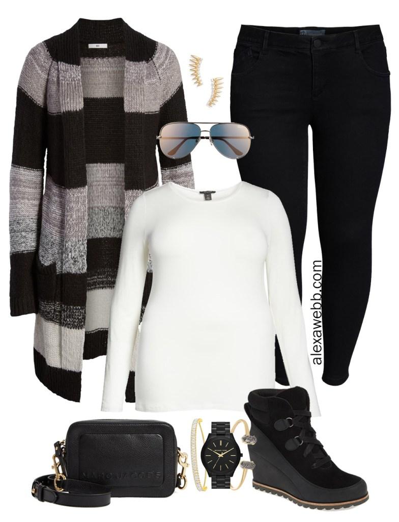 Plus Size Black Jeans Outfit - Plus Size Striped Cardigan, T-Shirt, Jeans, Booties, Crossbody Bag, Aviator Sunglasses - Plus Size Fashion for Women - alexawebb.com #plussize #alexawebb #NSale