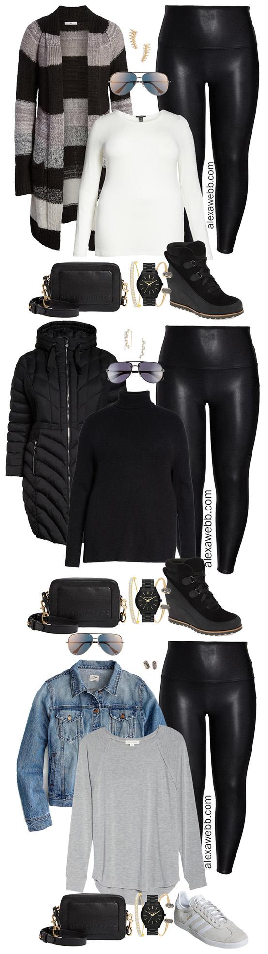 Plus Size Faux Leather Leggings Outfits - Plus Size Striped Cardigan, T-Shirt, Leggings, Booties, Crossbody Bag, Aviator Sunglasses - Plus Size Fashion for Women - alexawebb.com #plussize #alexawebb #NSale