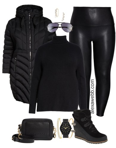 Plus Size Faux Leather Leggings Outfits - Plus Size Black Turtleneck, Plus Size Puffer Coat, Leggings, Booties, Crossbody Bag, Aviator Sunglasses - Plus Size Fashion for Women - alexawebb.com #plussize #alexawebb #NSale