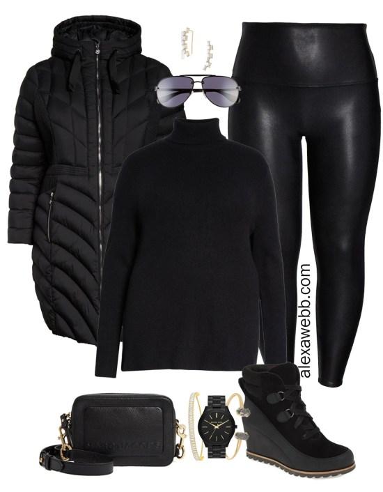 Plus Size Faux Leather Leggings Outfits - Plus Size Black Turtleneck, Plus Size Puffer Coat, Leggings, Booties, Crossbody Bag, Aviator Sunglasses - Plus Size Fashion for Women - Alexa Webb
