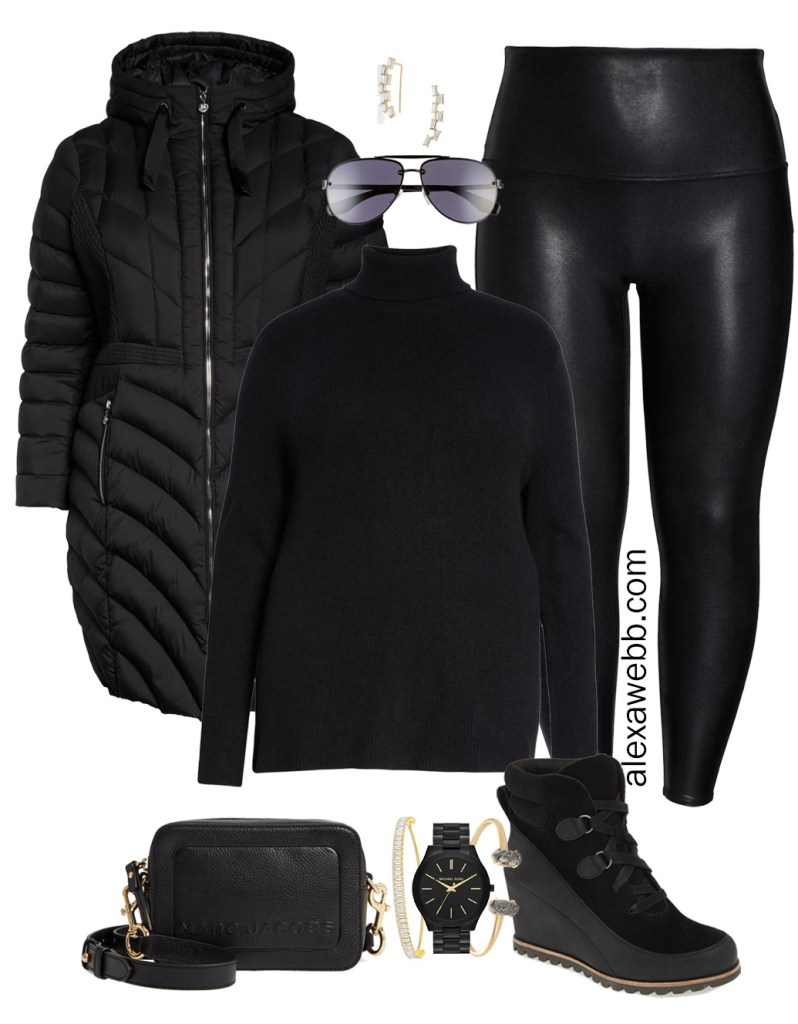 Plus Size Faux Leather Leggings Outfits - Plus Size Black Turtleneck, Plus Size Puffer Coat, Leggings, Booties, Crossbody Bag, Aviator Sunglasses - Plus Size Fashion for Women - alexawebb.com #plussize #alexawebb #NSale