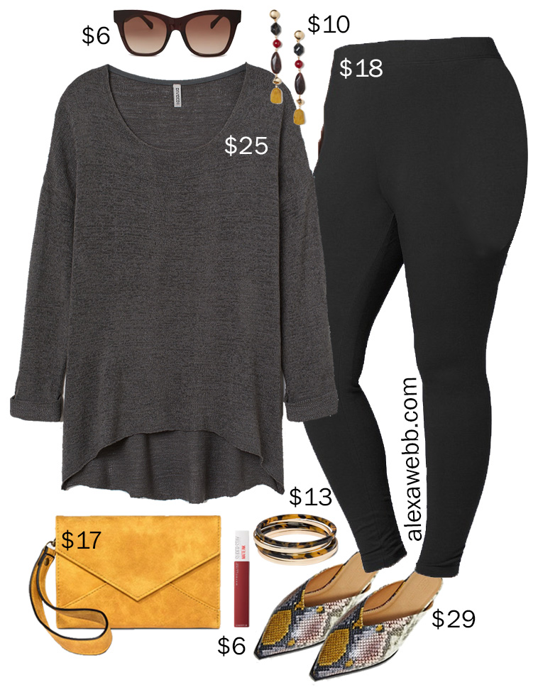 Plus Size on a Budget – Stylish Comfort - Plus Size Black Leggings, Grey Sweater, Snake Mules in Wide Width - Fall Outfit Idea - alexawebb.com #plussize #alexawebb