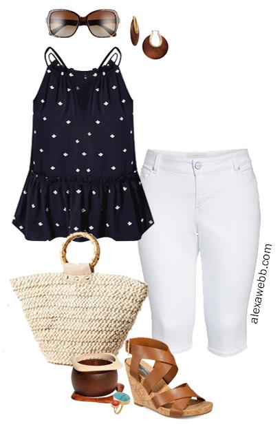 Plus Size Summer Peplum Top - White Capri Pants - Plus Size Summer Outfit Idea - alexawebb.com #plussize #alexawebb