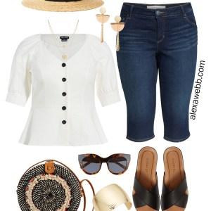 Plus Size Summer Boho Outfit - Plus Size Capri Bermuda Jeans, Plus Size Button Front Top, Rattan Circle Bag, Straw Hat, Sandals - Plus Size Summer Outfit Idea - alexawebb.com #plussize #alexawebb