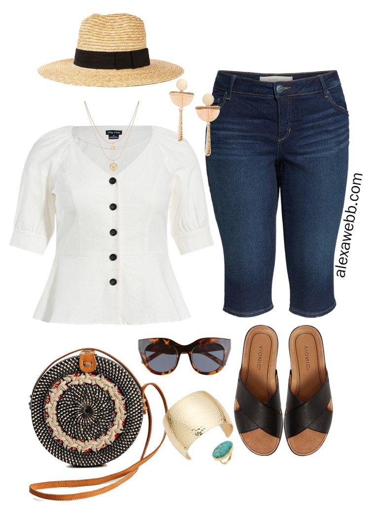 Plus Size Summer Boho Outfit - Plus Size Capri Bermuda Jeans, Plus Size Button Front Top, Rattan Circle Bag, Straw Hat, Sandals - Plus Size Summer Outfit Idea - alexawebb.com #plussize #alexawebb