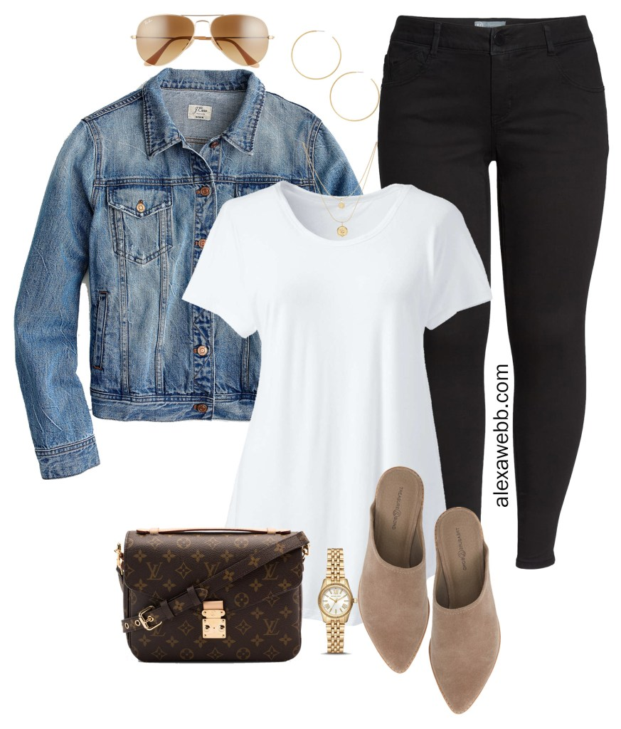 Plus Size Black Jeans Outfits - Denim Jacket, T-Shirt, Suede Mules, Louis Vuitton Bag, Aviator Sunglasses - alexawebb.com #plussize #alexawebb