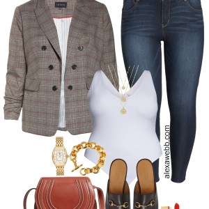 Plus Size Double Breasted Blazer Outfit Idea - Jeans, Mules, Gucci Belt, Chloe Bag - alexawebb.com #plussize #alexawebb