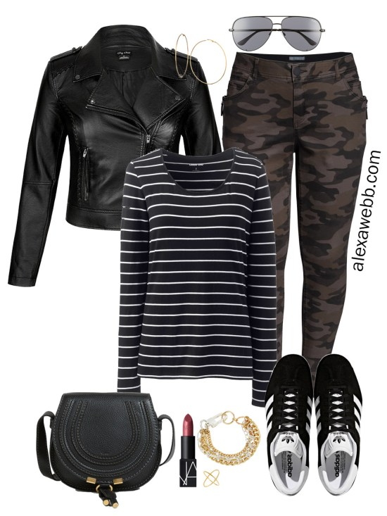 Plus Size Fall Monochromatic Basics Capsule Wardrobe - Plus Size Camo Pants, Striped Tee, Sneakers - alexawebb.com #plussize #alexawebb