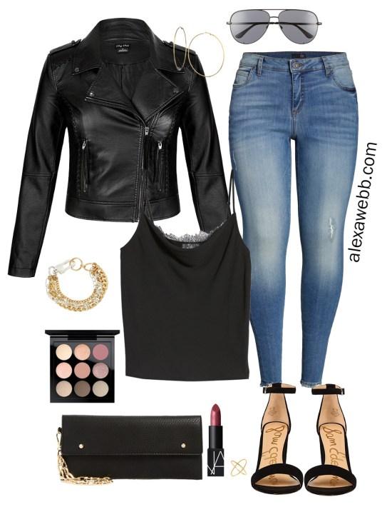 Plus Size Fall Monochromatic Basics Capsule Wardrobe - Plus Size Date Night Outfit, Leather Jacket, Jeans, Lace Cami, Heeled Sandals - alexawebb.com #plussize #alexawebb