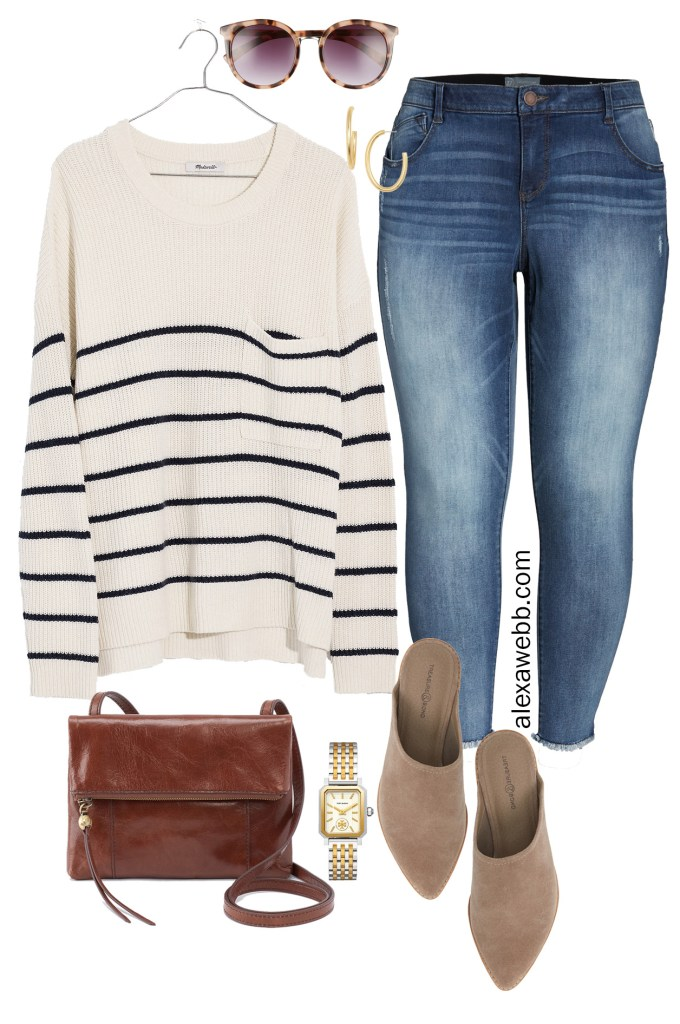 Plus Size Madewell Striped Sweater - Fall Outfit Idea with Jeans, Mules, Crossbody Bag - alexawebb.com #plussize #alexawebb