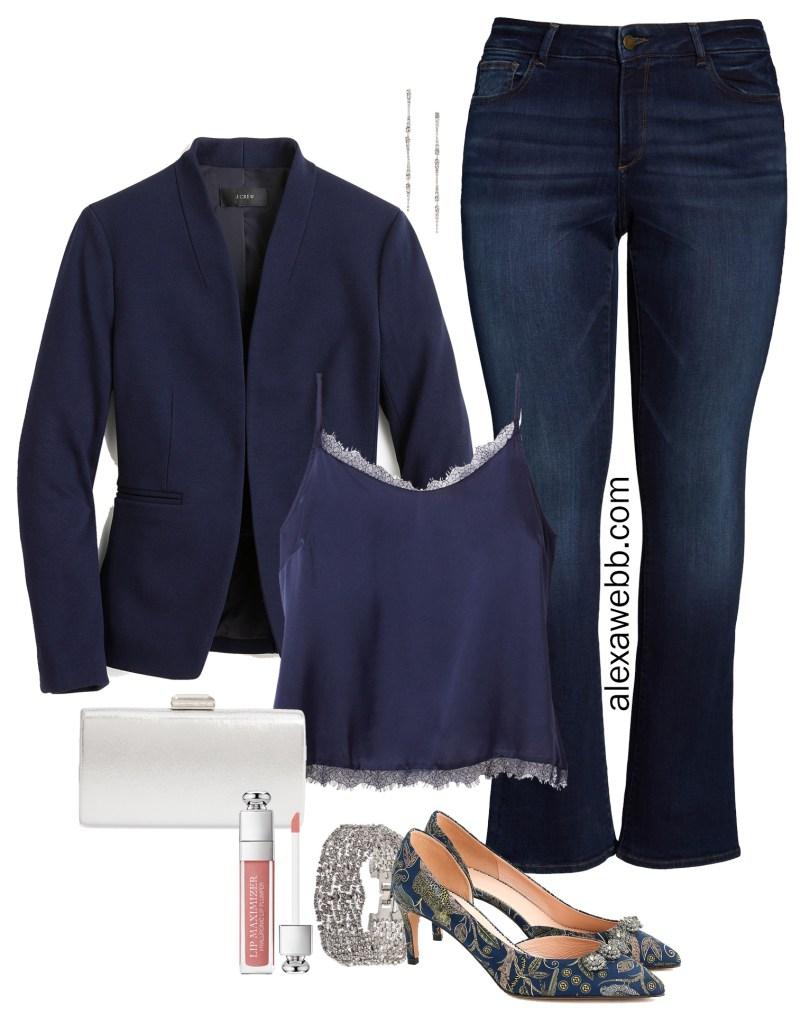 Plus Size Navy Blazer Date Night Outfit Ideas - Plus Size JCrew Blazer, Cami, Bootcut Jeans, Heels - alexawebb.com #plussize #alexawebb