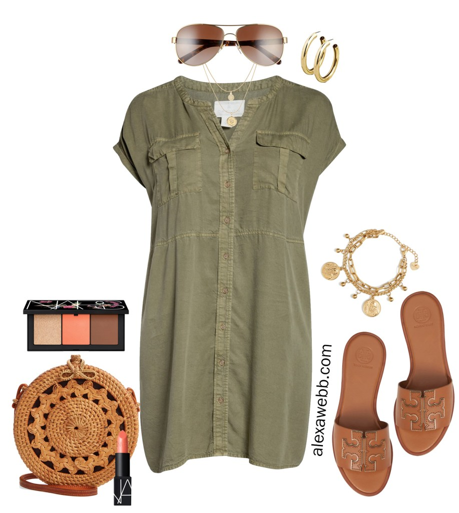 Plus Size Olive Green Utility Dress - Summer Outfit Idea - alexawebb.com #plussize #alexawebb