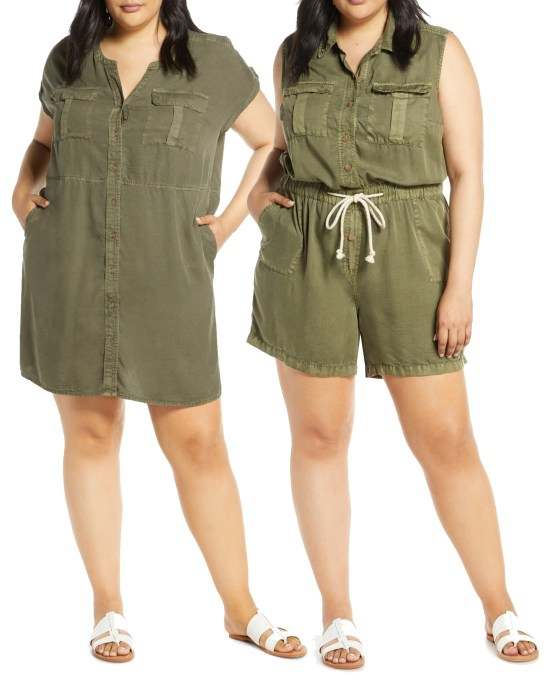 Plus Size Olive Green Utility Romper and Dress - alexawebb.com #plussize #alexawebb