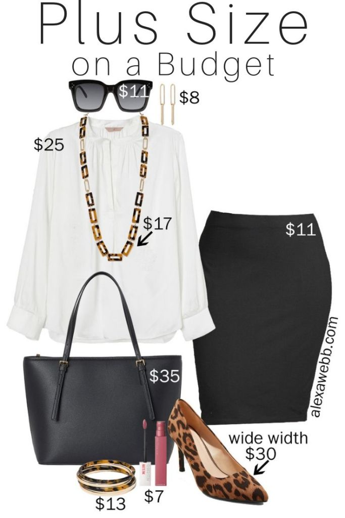Plus Size on a Budget - Work Basics - Pencil Skirt, Blouse, Leopard Pumps, Tote Bag - alexawebb.com #plussize #alexawebb