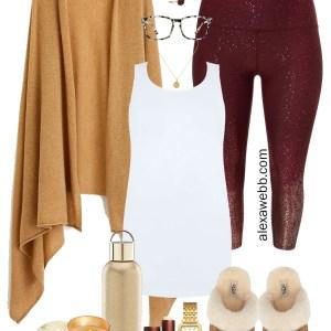 Plus Size Fall Loungewear = Cashmere Wrap, Sparkle Leggings, Tank Top, Ugg Slippers - Plus Size Fashion for Women - alexawebb.com #plussize #alexawebb