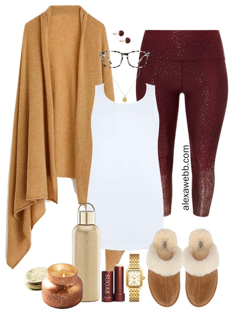 Plus Size Fall Loungewear - Cashmere Wrap, Sparkle Leggings, Tank Top, Ugg Slippers - Plus Size Fashion for Women - alexawebb.com #plussize #alexawebb