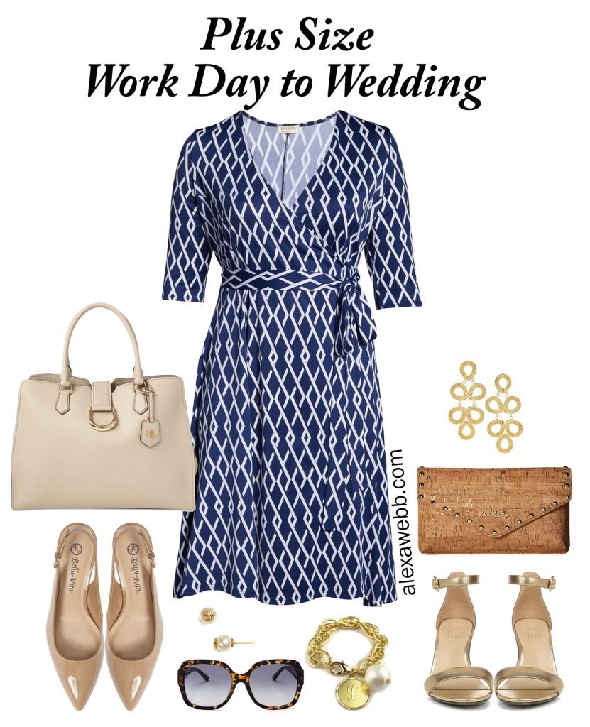 Plus Size Geometric Navy and White Wrap Dress Styled 2 Ways - Plus Size Summer Work Outfit Idea - alexawebb.com #plussize #alexawebb