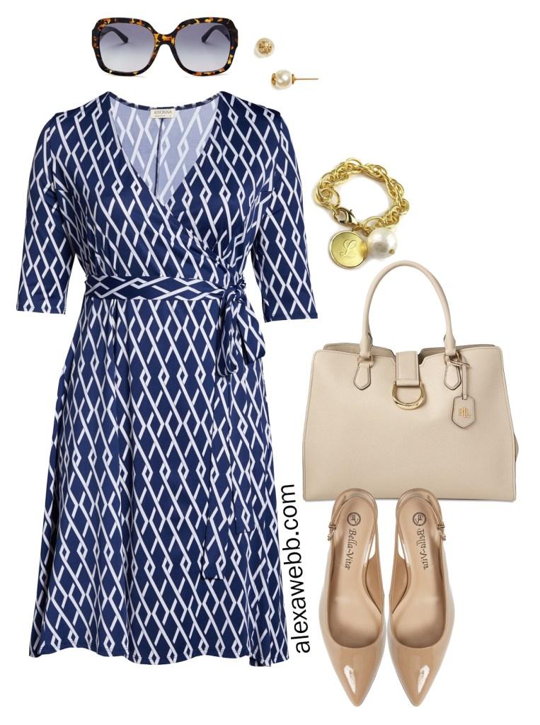 Plus Size Summer Work Wrap Dress - Navy and White Geometric Print Wrap Dress - Plus Size Fashion for Women - alexawebb.com #plussize #alexawebb