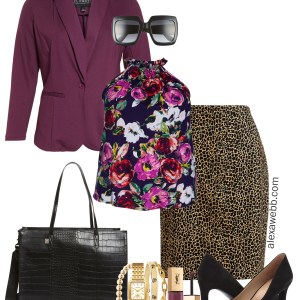 Plus Size Mixed Prints Work Outfit - Leopard print skirt with a floral top and a purple blazer for fall - alexawebb.com #plussize #alexawebb