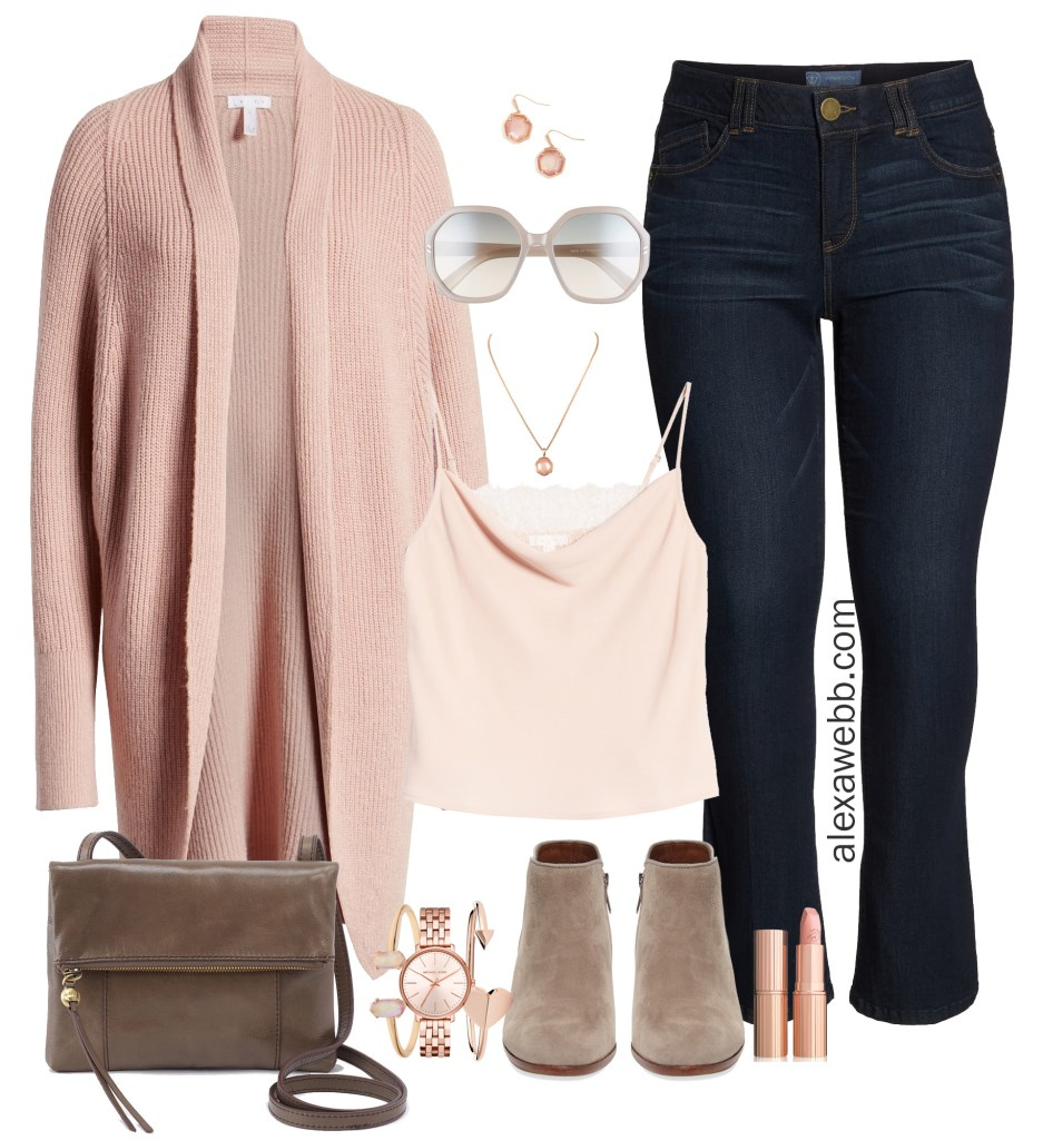 Plus Size Blush Pink and Rose Gold Outfit Ideas with Dark Denim and Booties - Fall Fashion - alexawebb.com #plussize #alexawebb