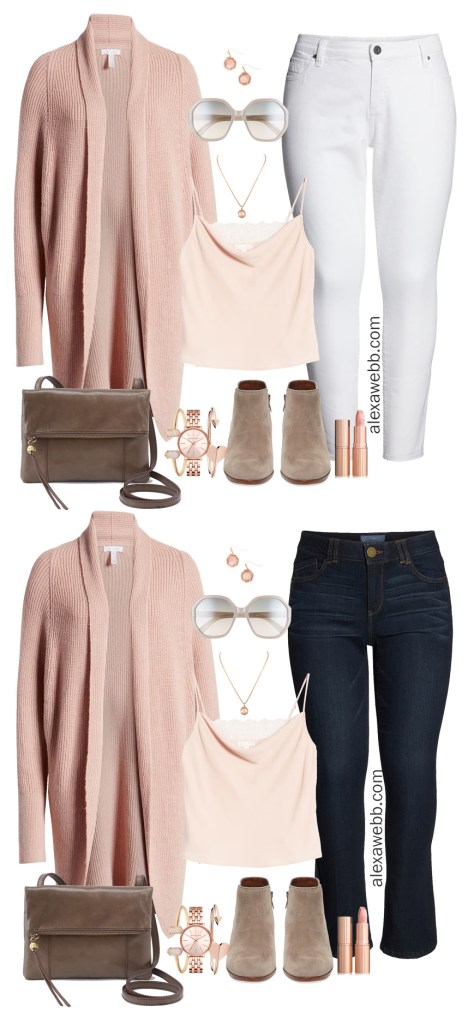 Plus Size Blush Pink and Rose Gold Outfit Ideas with Denim and Booties - Fall Fashion - alexawebb.com #plussize #alexawebb