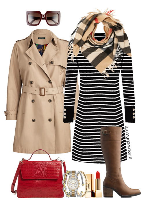 Plus Size Sweater Dress Outfit - Burberry Plaid Scarf, Trench Coat, Wide Calf Boots - Plus Size Fall Fashion - alexawebb.com #plussize #alexawebb
