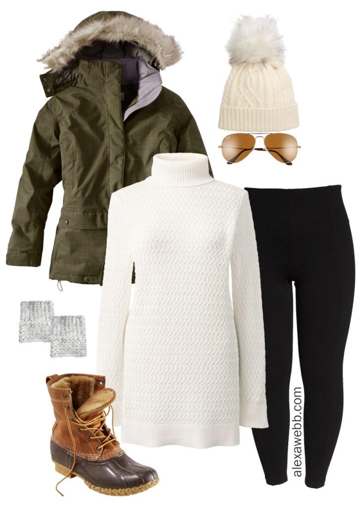 Plus Size Winter Alpine Outfit - Leggings, tunic sweater, coat -alexawebb.com #plussize #alexawebb