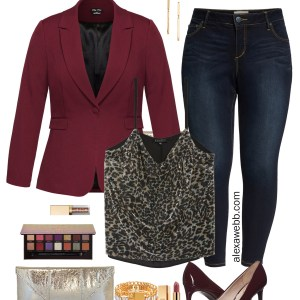 Plus Size Burgundy Blazer Night Out Outfit with Sequin Leopard Top and Jeans - Alexa Webb #plussize #alexawebb