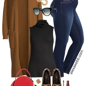 Plus Size Duster Cardigan Outfit from Walmart - Plus Size Fall Fashion - alexawebb.com #plussize #alexawebb