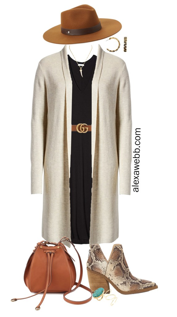 Plus Size Fall Jersey Dress with Gucci Belt, Long Cardigan, Snake Ankle Booties, Wool Fedora Hat - Plus Size Fall Outfit Idea - Alexa Webb #plussize #alexawebb