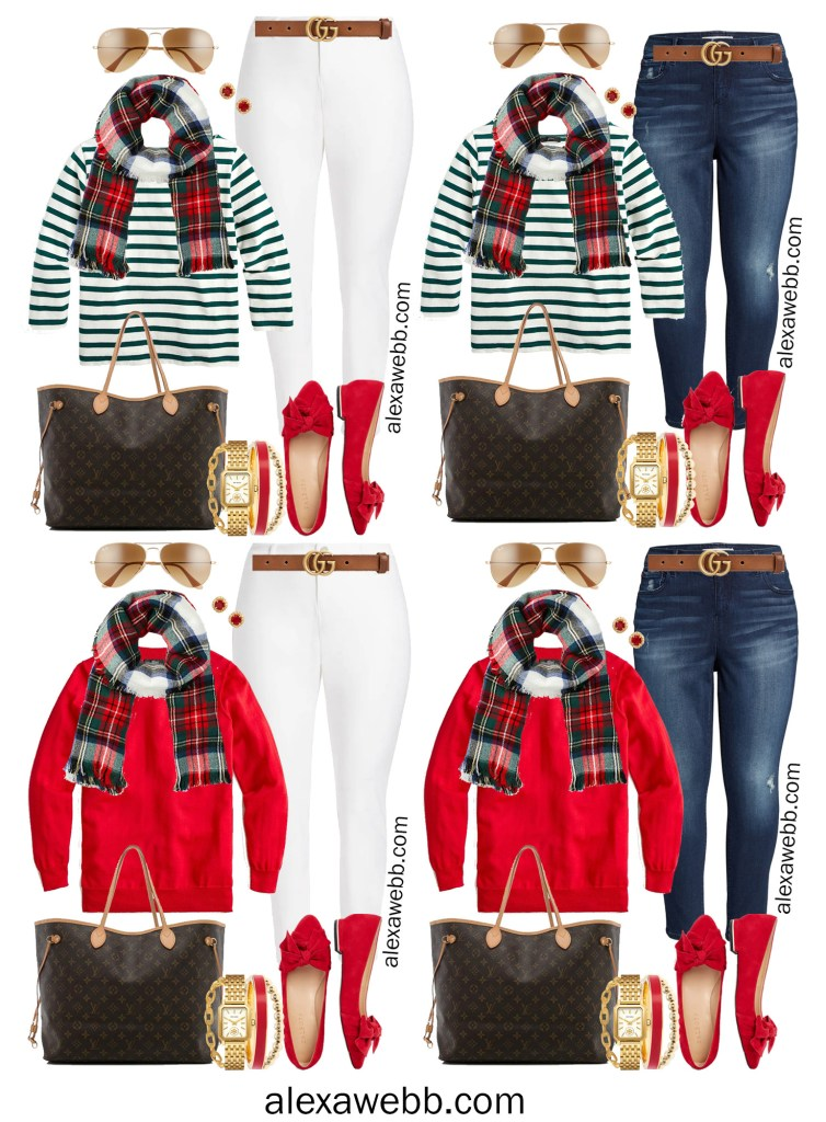 Plus Size Holiday Outfits with Skinny Jeans, Red Sweater, Green Striped Top, Plaid Scarf, Red Flats - Alexa Webb #plussize #alexawebb