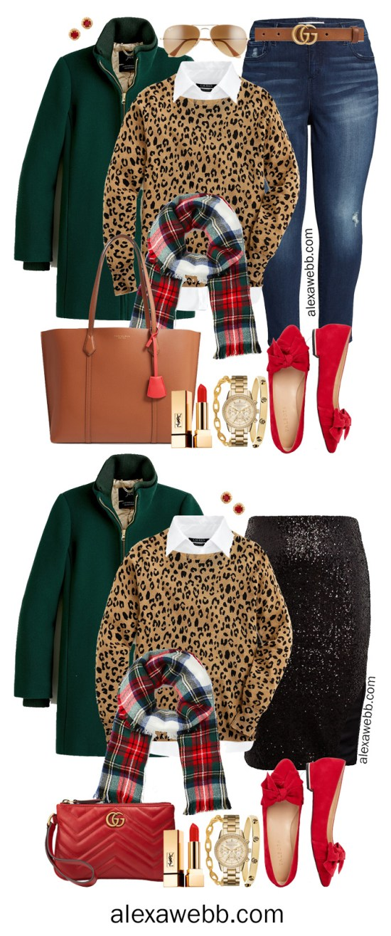 Plus Size Holiday Outfits - Black sequin skirt, Leopard Sweater, white button-down, plaid scarf, green coat, and red flats - Alexa Webb