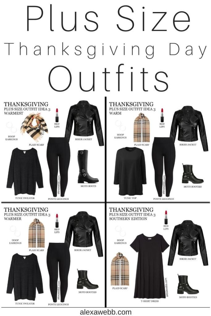 2019 Plus Size Thanksgiving Outfits - Part 2 with Biker Jacket, Tunic, Burberry Scarf, Leggings, Wide Calf Boots or Booties - Alexa Webb #plussize #alexawebb