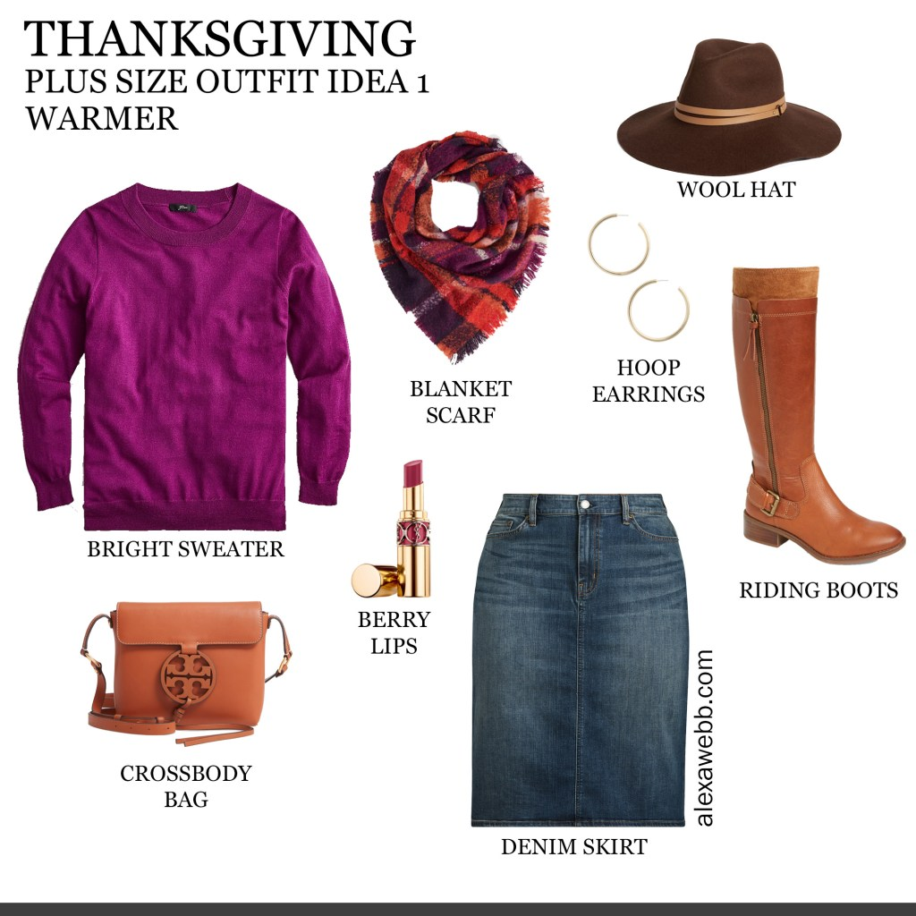 2019 Plus Size Thanksgiving Outfits - Part 1 with Wool Sweater, Plaid Blanket Scarf, Denim Skirt, Wide Calf Boots, Wool Hat - Alexa Webb #plussize #alexawebb
