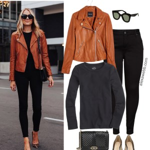 Straight Size to Plus Size - Fashion Jackson Black Jeans and Tan Leather Jacket Fall Outfit - Alexa Webb #plussize #alexawebb