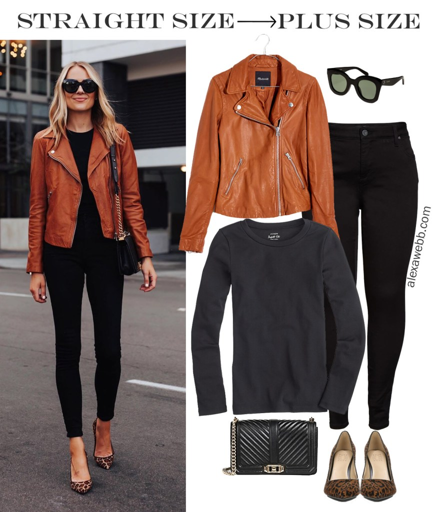 Straight Size to Plus Size - Fashion Jackson Black Jeans and Tan Leather Motorcycle Jacket Fall Outfit - Alexa Webb #plussize #alexawebb